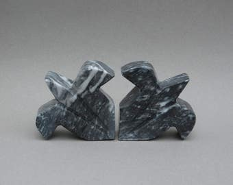 Marble Bookends Fleur De Lis Bookends Carved Stone Marbled Dark Gray U0026  White Home Library Office