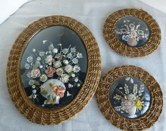 Seashell Flower Picture with Pine Needle Woven Frame Set of 3