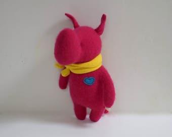 Handmade Cashmere Rhino stuffed small animal OOAK Berry red Rhino doll eco toy upcycled sweater soft plush Rhino bubynoa Elifants&rhinos