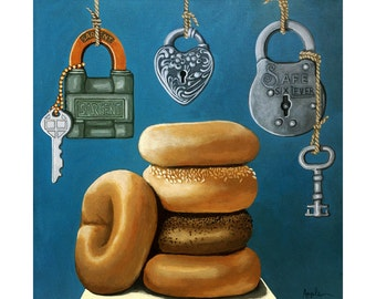 BAGELS & LOCKS realistic still life whimsical food original painting