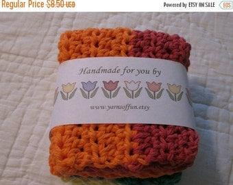 20% OFF WEEKEND SALE Crocheted Wash/Dishcloth Set of 3 Multi Colors  Red/Orange/Mod Green/Yellow/Purple