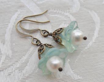 75% Off Clearance Sale- Freshwater Pearl, Mint Green Glass Flower Earrings