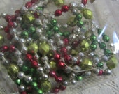 "Vintage Mercury Glass Multicolor ""Faceted"" Bead Garland Christmas Tree Garland Decoration Two Bags"