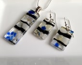 Handmade Silver Fused Glass Necklace and Sterling Silver Earrings Set in Gift Box - Blue, Black, White and Silver - FREE UK SHIPPING