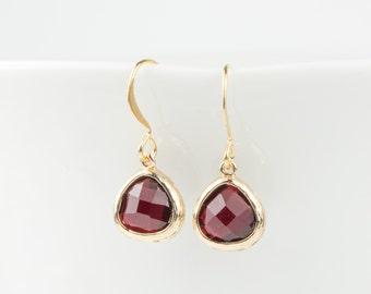 Tiny Garnet Gold Earrings, January Birthstone Gold Earrings, January Garnet Earrings, January Birthstone Jewelry, Dainty Gold Earrings
