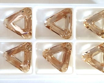 Swarovski 4737 Cosmic Triangle 30mm Crystal Golden Shadow Faceted Fancy Stone Focal