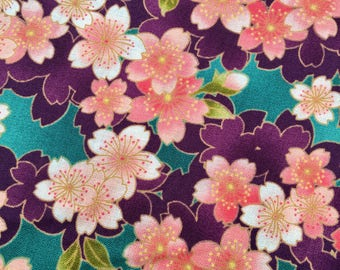 Sakura Cherry Blossom in pink, purple, and green Japanese cotton fabric AP52308-1C