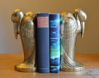 Rare vintage brass bird bookends. Crane, heron, egret