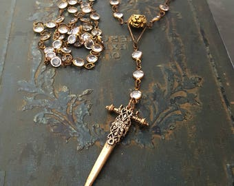 Long Edgy Crystal Bronze Rosary Cross Dagger Necklace, Rocker Chic Jewelry, Edgy Jewelry, Crystal Rosary, Dagger Necklace, Bronze Jewelry