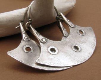 Large Silver Hoops, Urban Tribal Earrings, Riveted Earrings, Large Silver Earrings, Modern Tribal Jewelry, Blade Earrings, Hoop Earrings