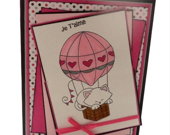 Cat Valentine's Day Card, Je T'Aime Card, French Valentine's Day Card, I Love You Card, Cat in a Hot Air Balloon