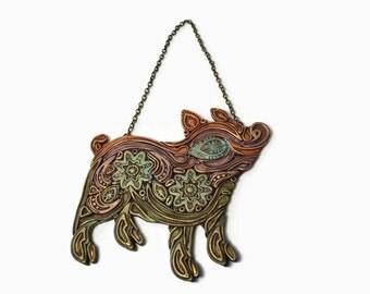 Pig, Pig Wall Hanging, Folk Art Pig, Pig Wall Ornament, Pig Art, Pig Gift, Handmade Pig