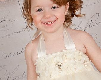 Flower Girl Dress, Ivory Tutu Dress, Ivory Dress Flower Girl Tutu - SEWN Ivory or White for Girls