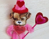 Valentine's Day Decoration Hanging Chenille Puppy Valentine Ornament