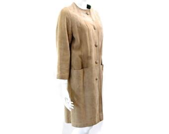 Vintage Camel Suede Coat//  Soft Brown Suede Coat // Sand Beige Blazer// Size S