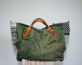 For KENA////Vintage Military Canvas, Graphic Textile, and Horween Leather