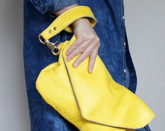 New///Mini Oxford Wristlet in Canary Yellow Leather Wristlet//Clutch// Pouch