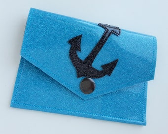 Metalflake Vinyl Snap Wallet Light Blue with Black Anchor and Black Interior