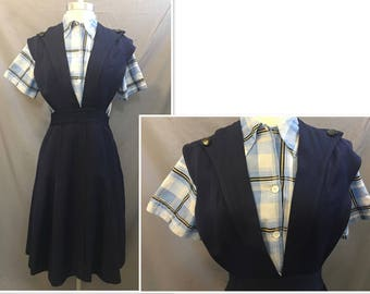 Rare Vintage Schoolgirl 1940's Navy Pinafore Uniform Size XS/SMALL