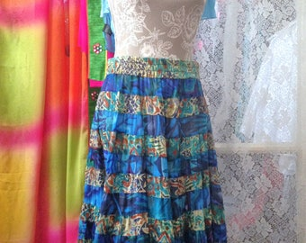 Long Cotton Skirt Boho Summer Skirt Multi Tiered Skirt Made in India Size L