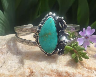 Natural Royston Turquoise Sterling Silver Cuff Bracelet, rustic, artisan, metalwork, handmade, Boho, Bohemian, Succulent