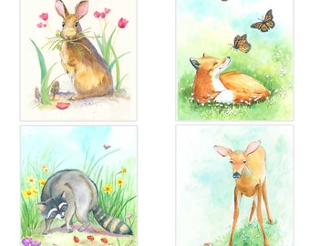 Woodland Creature Nursery Art - Woodland Creature Wall Decor -  Woodland Nursery Art - Woodland Animals
