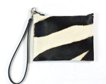 Mimi - Handmade Zebra Print Hair On Cow Hide Leather Clutch Bag Zip Pouch Purse AW16