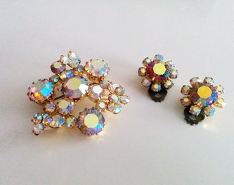 Vintage Aurora Borealis Signed Triad Brooch and Clip on Earrings Yellow AB