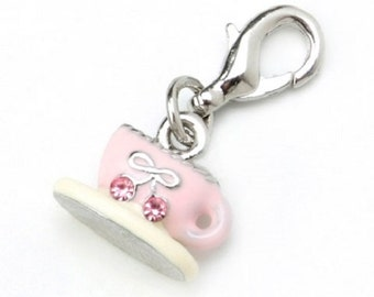 TEA CUP Charm---- Mix and Mingle Charm with Lobster Clasp
