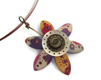 Polymer Clay Pendant - Fimo Pendant - Flower Pendant - Mokume Gane Pendant - Flower Petal Pendant - Purple Red Pendant - Steampunk Pendant