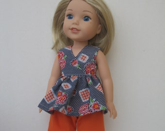 "Wellie Wishers American girl 14.5"" Doll Clothes Top and Pants"