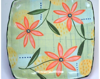 Green Tray, Flower tray, plaid tray