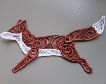 Embroidered Lace Fox Applique with moving parts