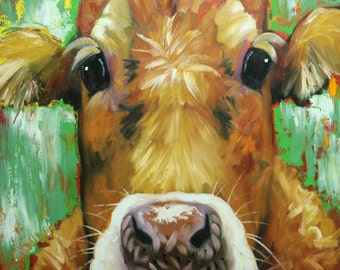 Cow painting 1194 30x30 inch animal original oil painting by Roz
