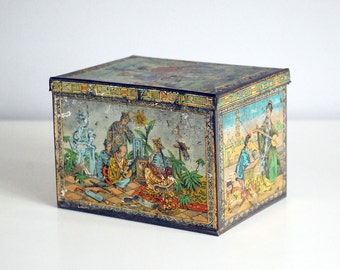 Chinese Tea Tin, Antique Tea Caddy, 1800s Tin Box, Asian Decor, Advertising Tin, Chinoiserie, Tin Litho Storage Container, Boho Decor