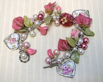 Broken China Bracelet - Charm Bracelet - Broken China Jewelry - Sweet Pea - Polymer Clay Sweet Pea -  Handmade Bracelet - Handmade Jewelry