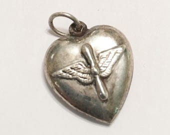 Vintage  Sterling Heart  Vintage Puff Sterling Heart with Air Force Sweetheart Design  Propeller and Wing Air Force Design