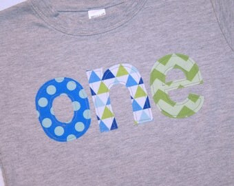 Boys First Birthday ONE Shirt in green and primary blue - 18 month short sleeve heather gray