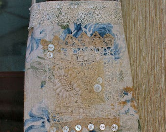 Blue Roses OOAK Fabric Collage HANDMADE Pouch with vintage laces and mop buttons
