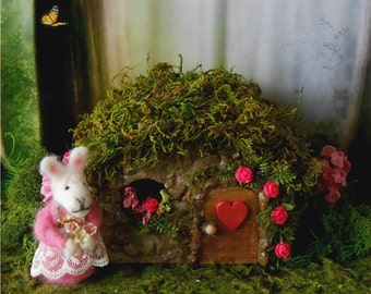 Fairy House, Fairy Garden,FREE SHIPPING, Miniature Garden, Pink Rose Cottage, Gift for Gardener, Stone Cottage, Outdoor Fairy House