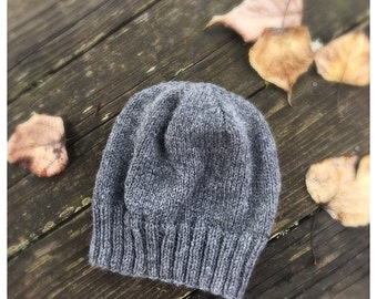 Boyfriends Beanie Hat Hand Knit Grey