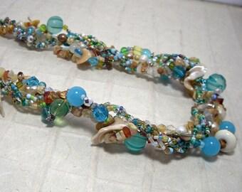 Mermaid Blue Sea Necklace Earrings Set Rope Statement Beaded Beach Shells