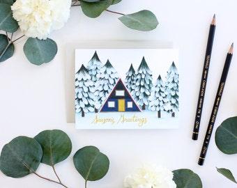 Winter Cabin Holiday Card - Seasons Greetings Card - Christmas Card - Holiday Card - Winter Card - Snowy Forest Card - Cabin Greeting Card
