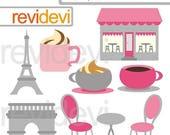 35% OFF SALE Pink grey Paris cafe clipart - Oh la la paris digital clipart - Eiffel tower, coffee shop, arc de triomph Paris France clipart
