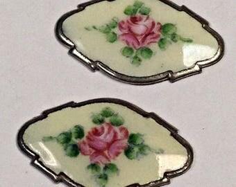 Vintage PORCELAIN Limoges Flower Pendant ROSE 26x16mm Pkg2 por228