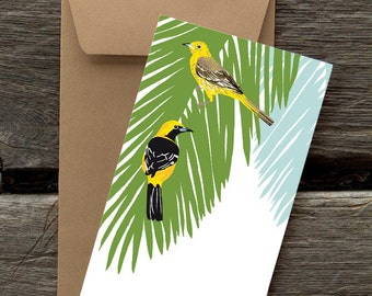 Hooded Orioles in Palm Tree: Pack of 8 eco-friendly flat cards