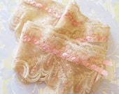 Saved & Saved...Delicious Vintage Lace with Pink Ribbon