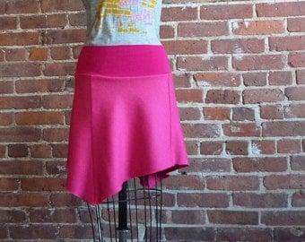 Womens Skirt, Hot Pink, Asymmetrical, Flared Skirt, Cute Skirt, Fun Skirt, Wool Mini Skirt, Winter Fashion, Girls Skirt, Winter Style, Saia
