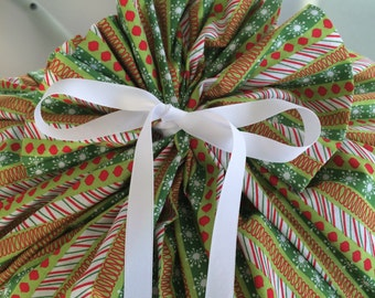 Extra Large Christmas Gift Bag 39 inches wide x 44 inches tall - Reusable Eco-Friendly Cotton Fabric