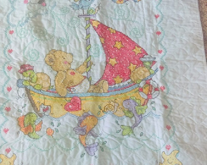 Sail Away Baby Quilt, Crib Cover, new baby gift, new Mom gift